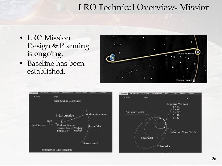 LRO Technical Overview- Mission • LRO Mission Design & Planning is ongoing. • Baseline