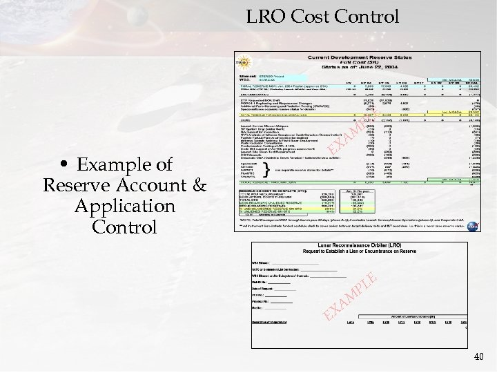 LRO Cost Control LE P • Example of Reserve Account & Application Control AM