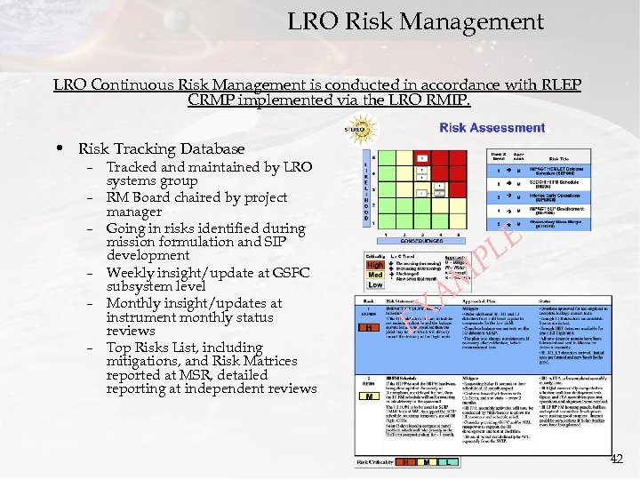 LRO Risk Management LRO Continuous Risk Management is conducted in accordance with RLEP CRMP