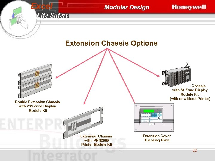 Excel Modular Design Life Safety Extension Chassis Options Extension Chassis with 64 Zone Display