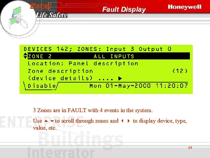 Excel Life Safety Fault Display 3 Zones are in FAULT with 4 events in
