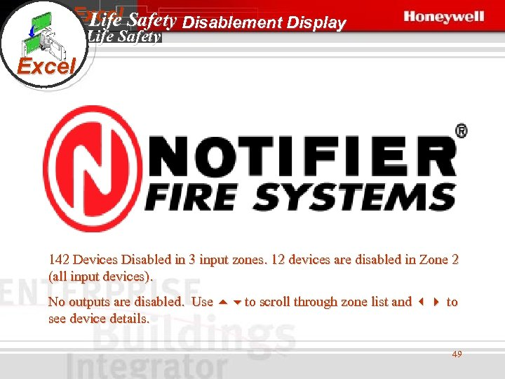 Excel Safety Disablement Display Life Safety Excel 142 Devices Disabled in 3 input zones.