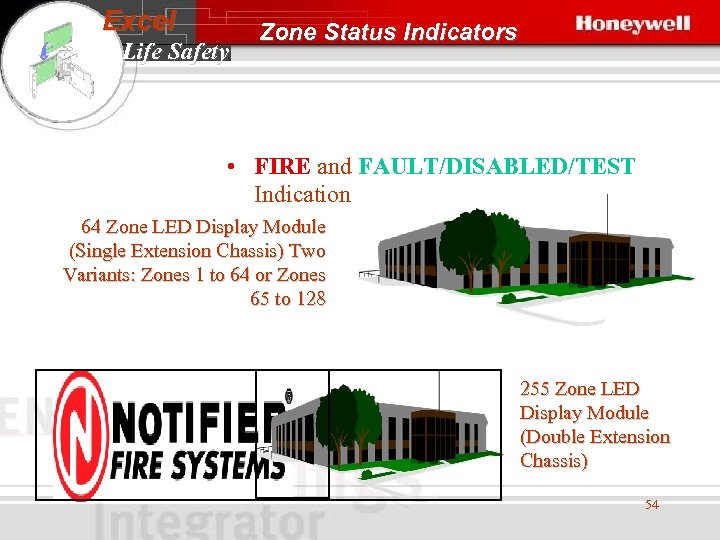 Excel Life Safety Zone Status Indicators • FIRE and FAULT/DISABLED/TEST Indication 64 Zone LED