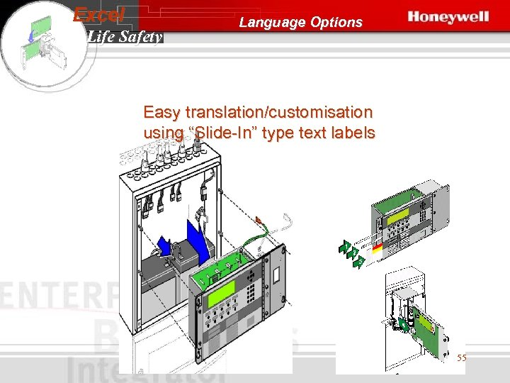 "Excel Life Safety Language Options Easy translation/customisation using ""Slide-In"" type text labels 55"