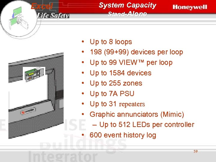 System Capacity Stand-Alone Excel Life Safety • • Up to 8 loops 198 (99+99)