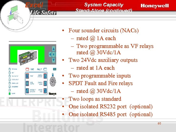 Excel Life Safety System Capacity Stand-Alone (continued) • Four sounder circuits (NACs) – rated