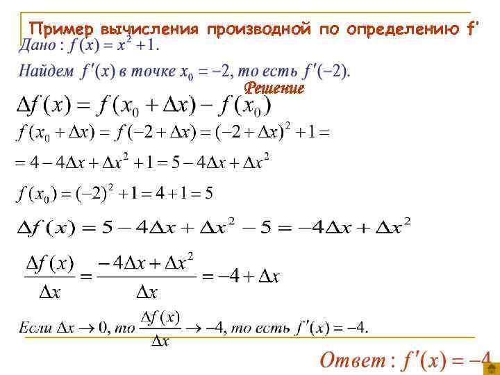 Пример вычисления производной по определению f' Решение
