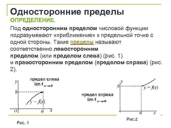 Односторонние пределы ОПРЕДЕЛЕНИЕ. Под односторонним пределом числовой функции подразумевают «приближение» к предельной точке с