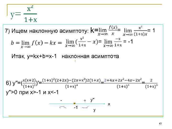 7) Ищем наклонную асимптоту: k= Итак, у=kx+b=х-1 наклонная асимптота - + -1 y′′