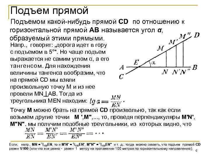 Подъем прямой Подъемом какой-нибудь прямой CD по отношению к горизонтальной прямой АВ называется угол