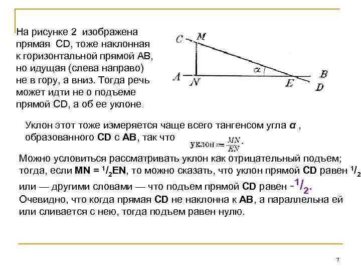 На рисунке 2 изображена прямая CD, тоже наклонная к горизонтальной прямой AB, но идущая