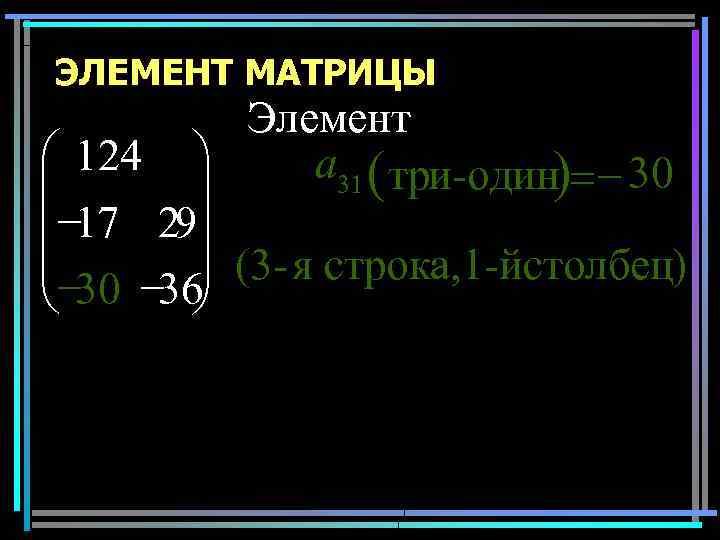 ЭЛЕМЕНТ МАТРИЦЫ Элемент æ 124 ö a 31 ( три-один)= - 30 ÷ ç