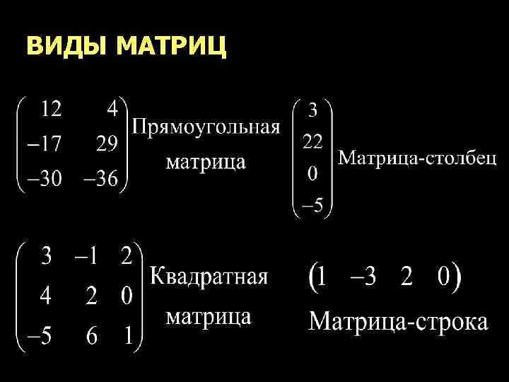 ВИДЫ МАТРИЦ 5