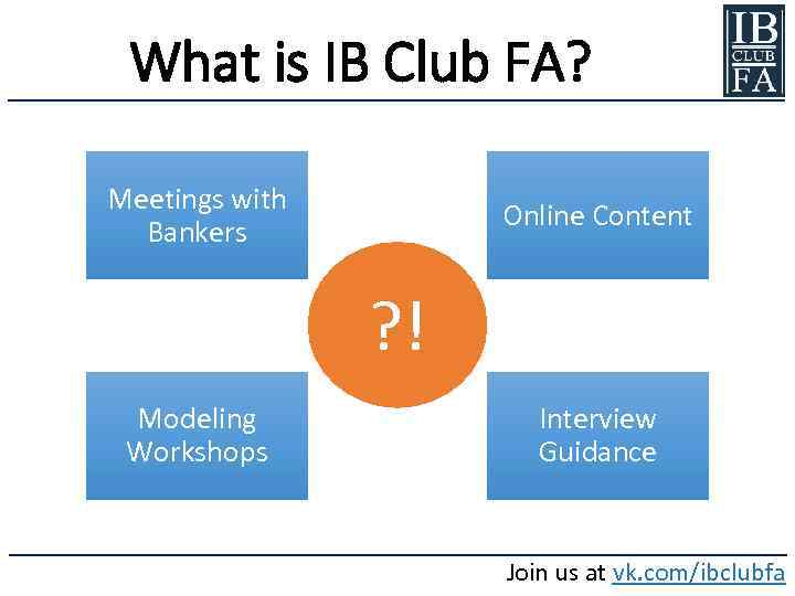 What is IB Club FA? Meetings with Bankers Online Content ? ! Modeling Workshops