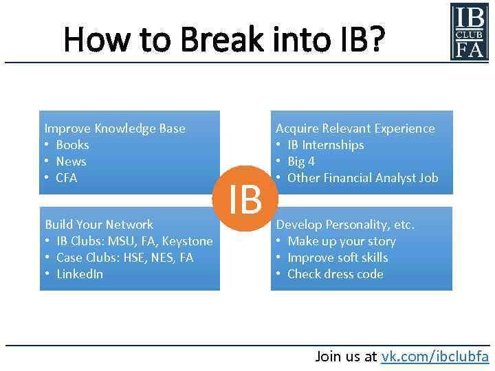 How to Break into IB? Improve Knowledge Base • Books • News • CFA