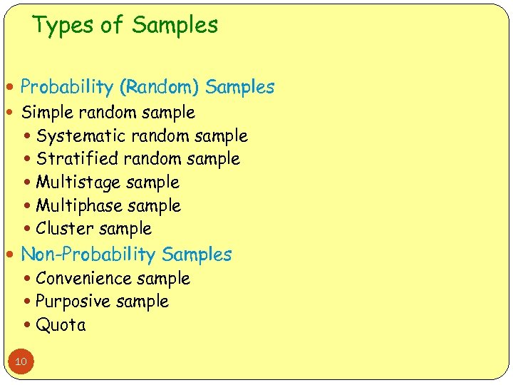 Types of Samples Probability (Random) Samples Simple random sample Systematic random sample Stratified random
