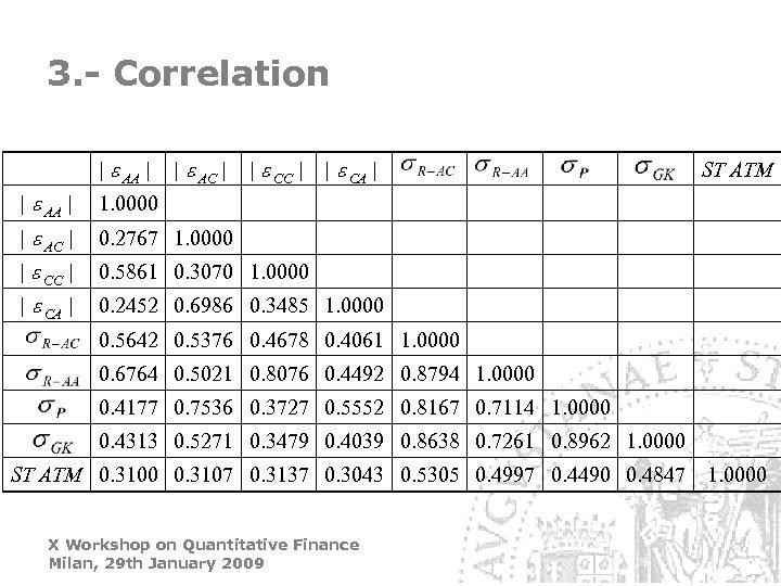 3. - Correlation | e AA | | e AC | | e CA