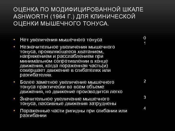 ОЦЕНКА ПО МОДИФИЦИРОВАННОЙ ШКАЛЕ ASHWORTH (1964 Г. ) ДЛЯ КЛИНИЧЕСКОЙ ОЦЕНКИ МЫШЕЧНОГО ТОНУСА. •