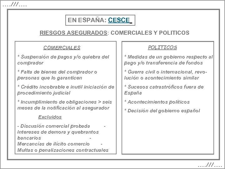 . . ///. . EN ESPAÑA: CESCE RIESGOS ASEGURADOS: COMERCIALES Y POLITICOS COMERCIALES POLITICOS