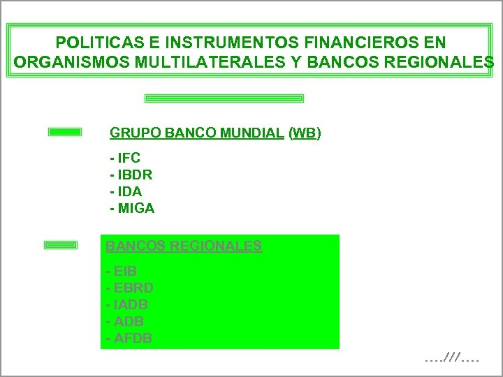 POLITICAS E INSTRUMENTOS FINANCIEROS EN ORGANISMOS MULTILATERALES Y BANCOS REGIONALES GRUPO BANCO MUNDIAL (WB)