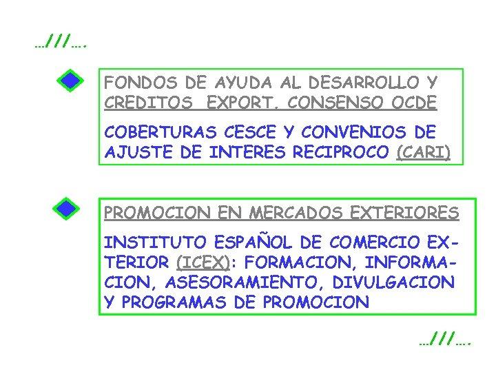 …///…. FONDOS DE AYUDA AL DESARROLLO Y CREDITOS EXPORT. CONSENSO OCDE COBERTURAS CESCE Y