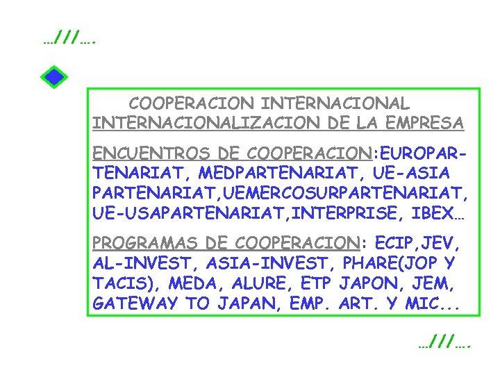 …///…. COOPERACION INTERNACIONALIZACION DE LA EMPRESA ENCUENTROS DE COOPERACION: EUROPARTENARIAT, MEDPARTENARIAT, UE-ASIA PARTENARIAT, UEMERCOSURPARTENARIAT,