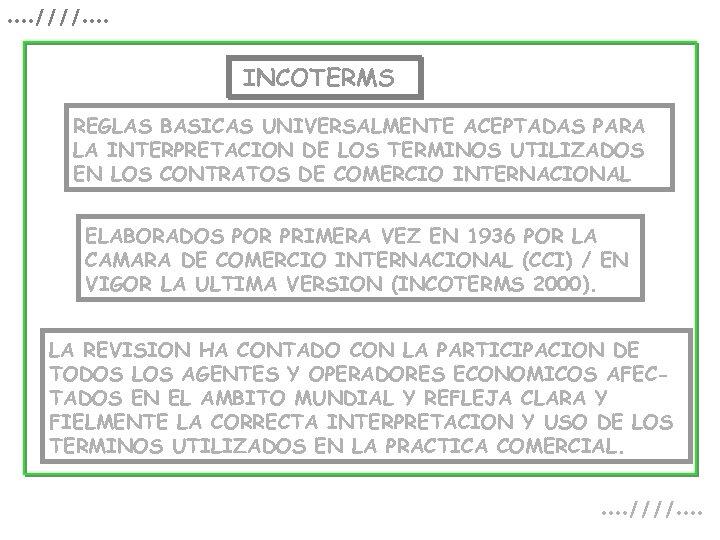 . . ////. . INCOTERMS REGLAS BASICAS UNIVERSALMENTE ACEPTADAS PARA LA INTERPRETACION DE LOS