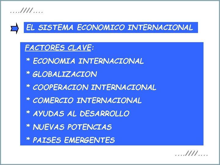 . . ////. . EL SISTEMA ECONOMICO INTERNACIONAL FACTORES CLAVE: * ECONOMIA INTERNACIONAL *