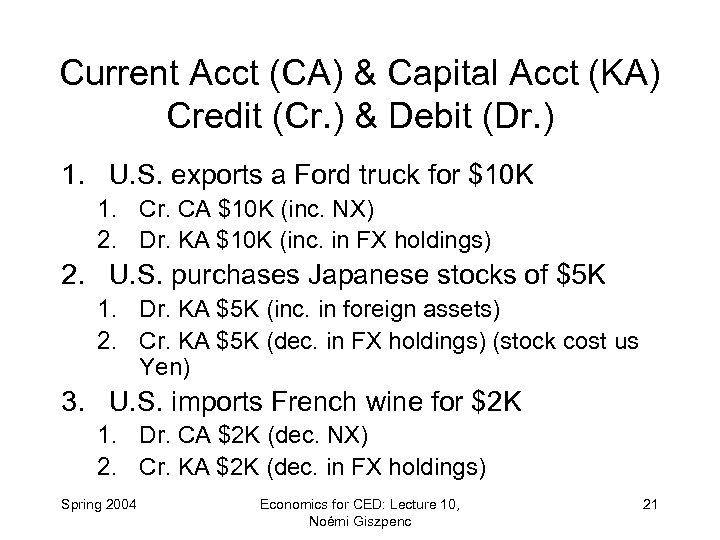 Current Acct (CA) & Capital Acct (KA) Credit (Cr. ) & Debit (Dr. )