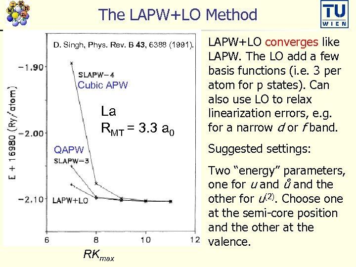 The LAPW+LO Method D. Singh, Phys. Rev. B 43, 6388 (1991). Cubic APW La