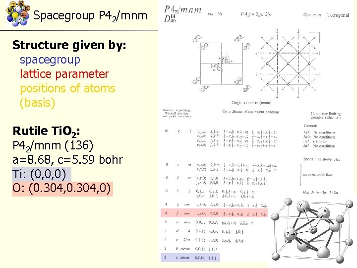 Spacegroup P 42/mnm Structure given by: spacegroup lattice parameter positions of atoms (basis) Rutile