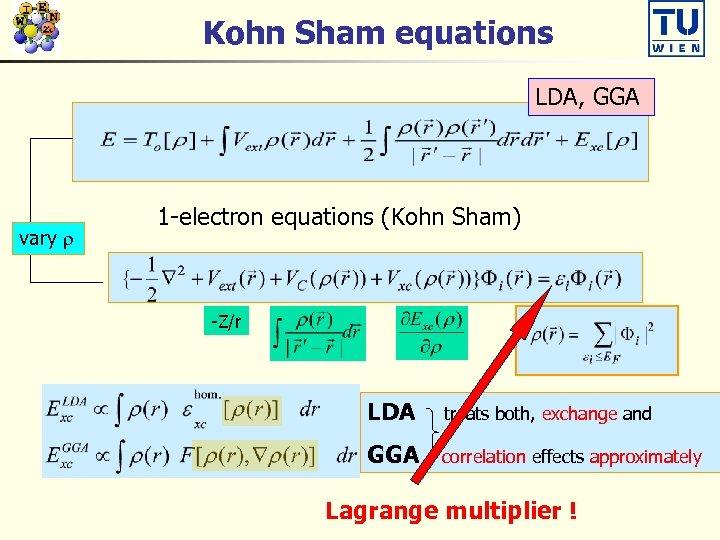Kohn Sham equations LDA, GGA vary 1 -electron equations (Kohn Sham) -Z/r LDA treats