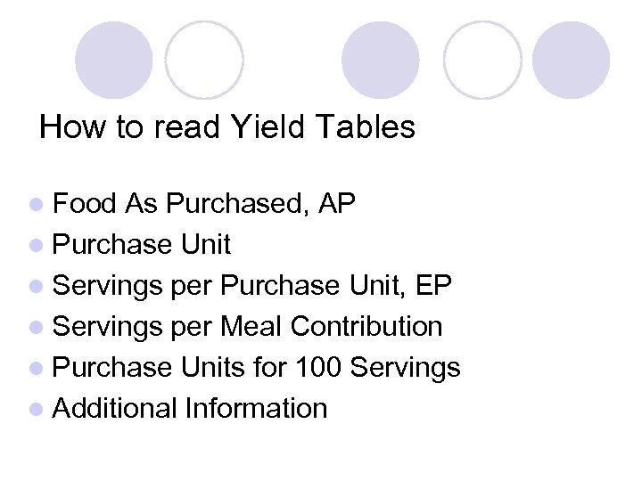 How to read Yield Tables l Food As Purchased, AP l Purchase Unit l