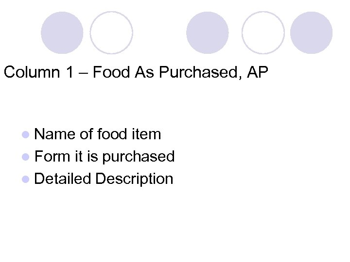 Column 1 – Food As Purchased, AP l Name of food item l Form