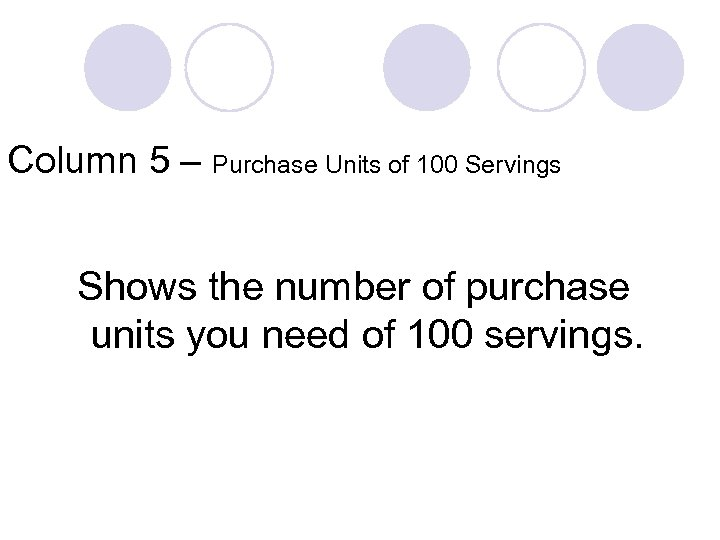 Column 5 – Purchase Units of 100 Servings Shows the number of purchase units