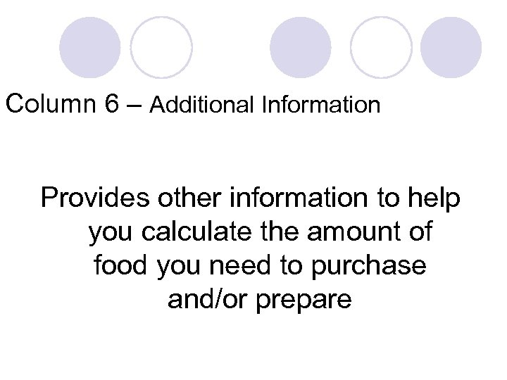 Column 6 – Additional Information Provides other information to help you calculate the amount