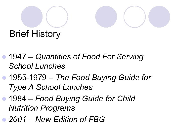Brief History l 1947 – Quantities of Food For Serving School Lunches l 1955