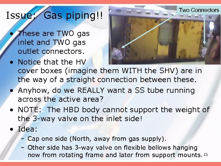 Issue: Gas piping!! Two Connectors • These are TWO gas inlet and TWO gas