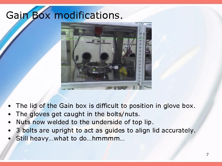 Gain Box modifications. • • • The lid of the Gain box is difficult