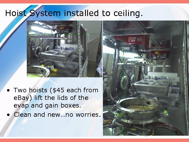 Hoist System installed to ceiling. • Two hoists ($45 each from e. Bay) lift