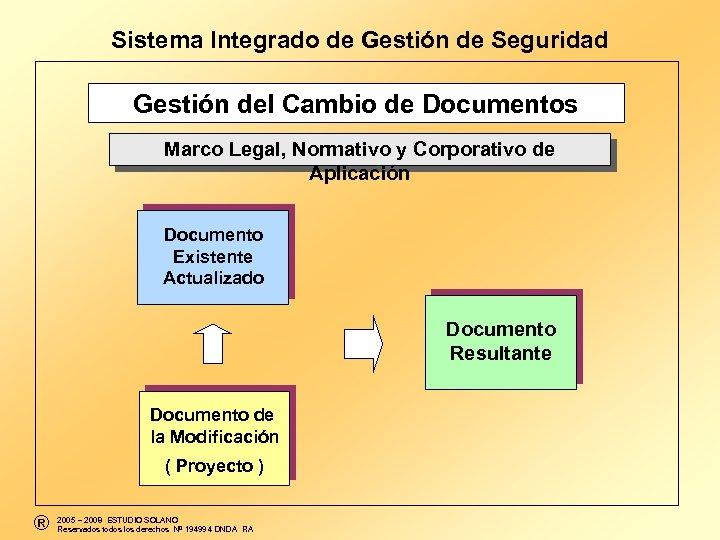 Sistema Integrado de Gestión de Seguridad Gestión del Cambio de Documentos Marco Legal,