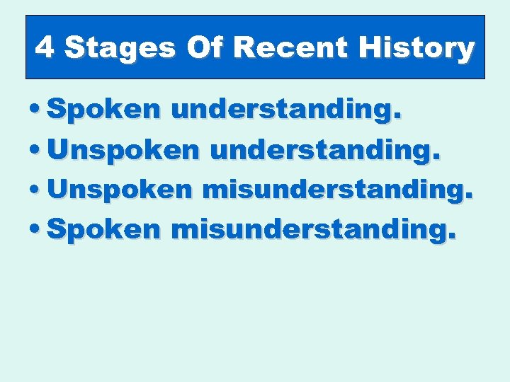 4 Stages Of Recent History • Spoken understanding. • Unspoken misunderstanding. • Spoken misunderstanding.