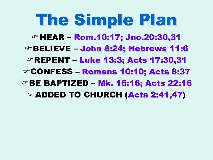 The Simple Plan F HEAR – Rom. 10: 17; Jno. 20: 30, 31 F