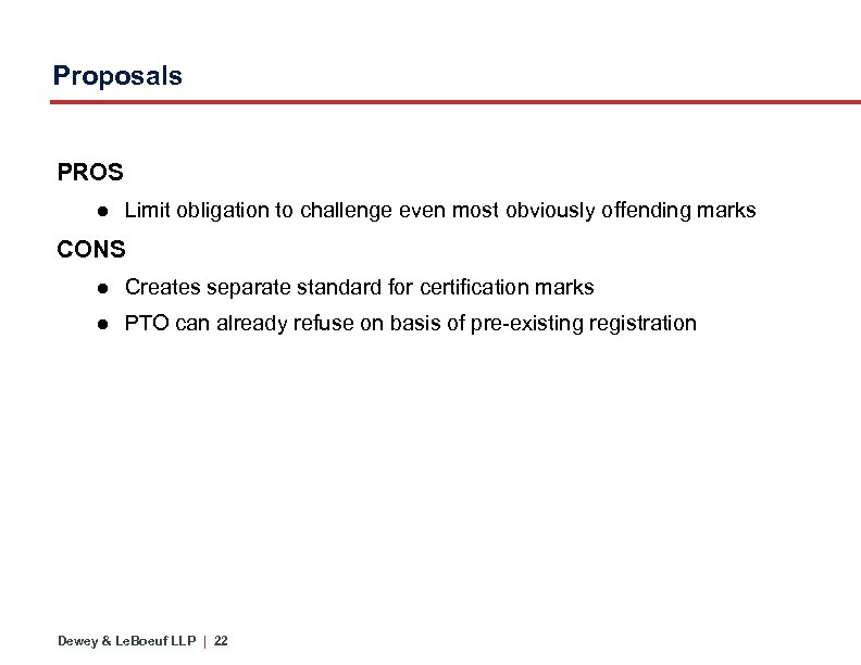 Proposals PROS ● Limit obligation to challenge even most obviously offending marks CONS ●