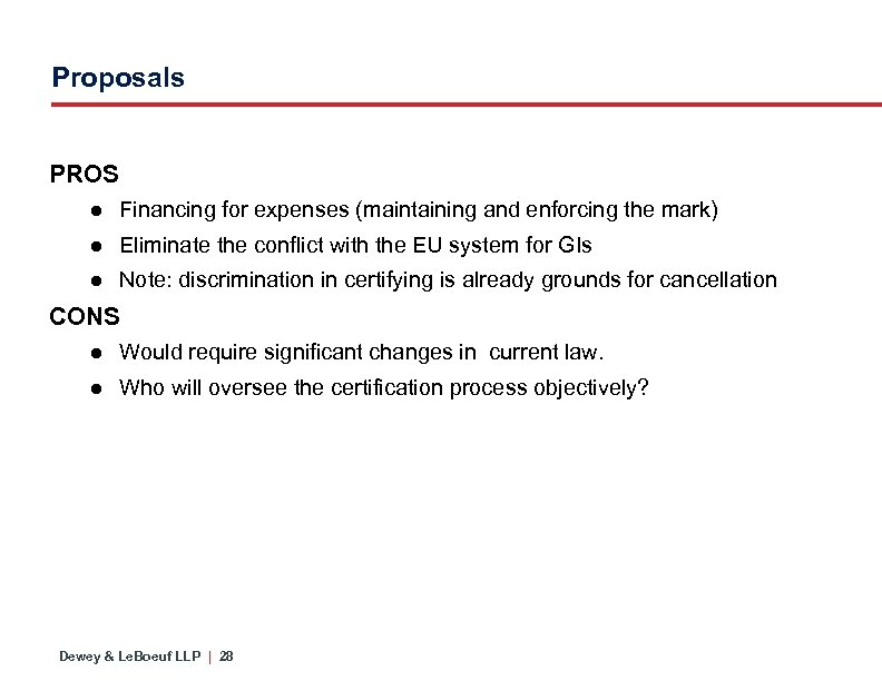 Proposals PROS ● Financing for expenses (maintaining and enforcing the mark) ● Eliminate the