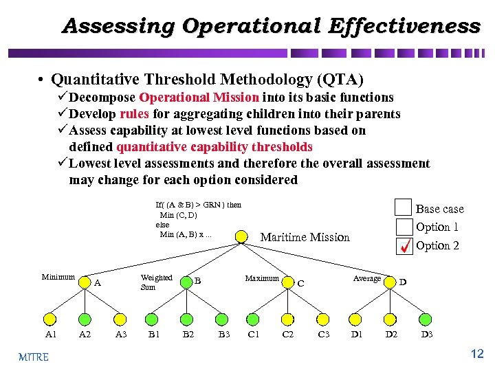 Assessing Operational Effectiveness • Quantitative Threshold Methodology (QTA) ü Decompose Operational Mission into its