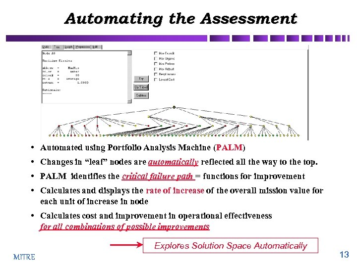 """Automating the Assessment • Automated using Portfolio Analysis Machine (PALM) • Changes in """"leaf"""""""