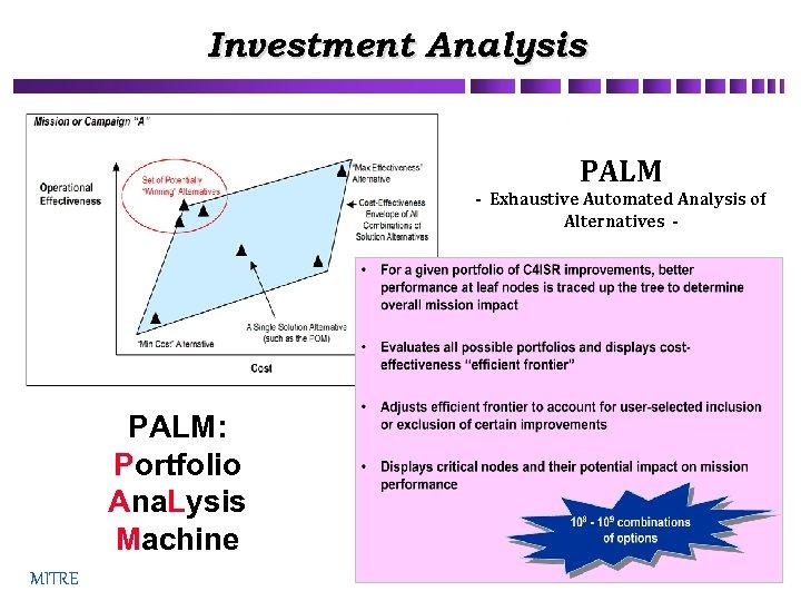 Investment Analysis PALM - Exhaustive Automated Analysis of Alternatives - PALM: Portfolio Ana. Lysis