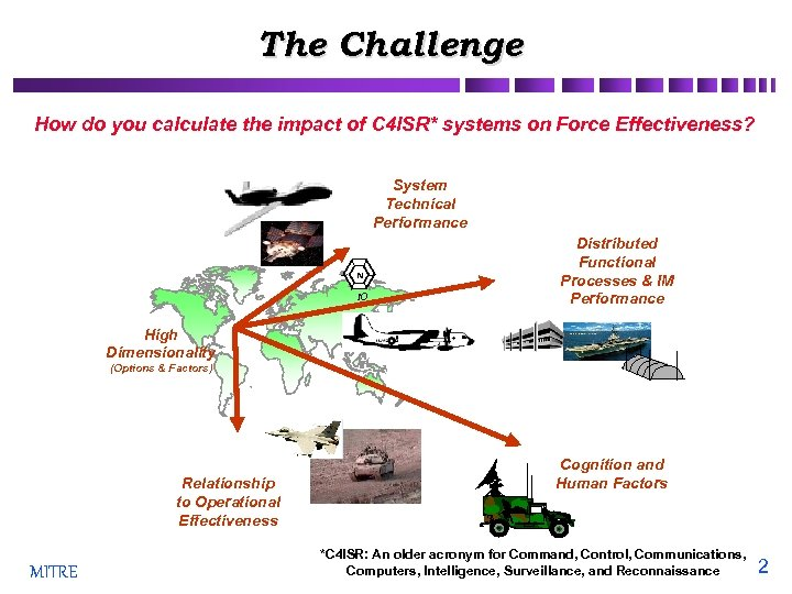 The Challenge How do you calculate the impact of C 4 ISR* systems on