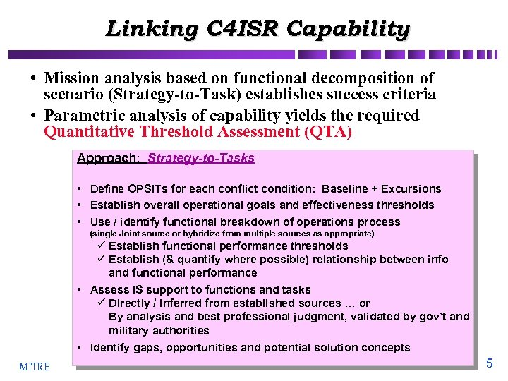 Linking C 4 ISR Capability • Mission analysis based on functional decomposition of scenario
